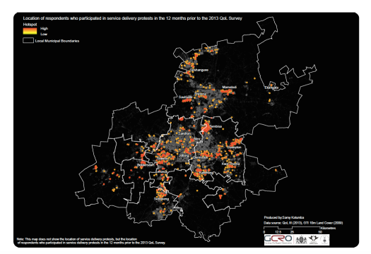 Map showing service delivery protest hotspots (gcro.ac.za)